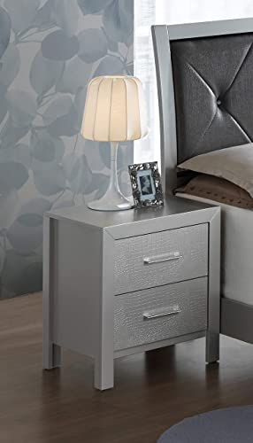 Glory Furniture 2 Drawer Nightstand, Silver Champagne
