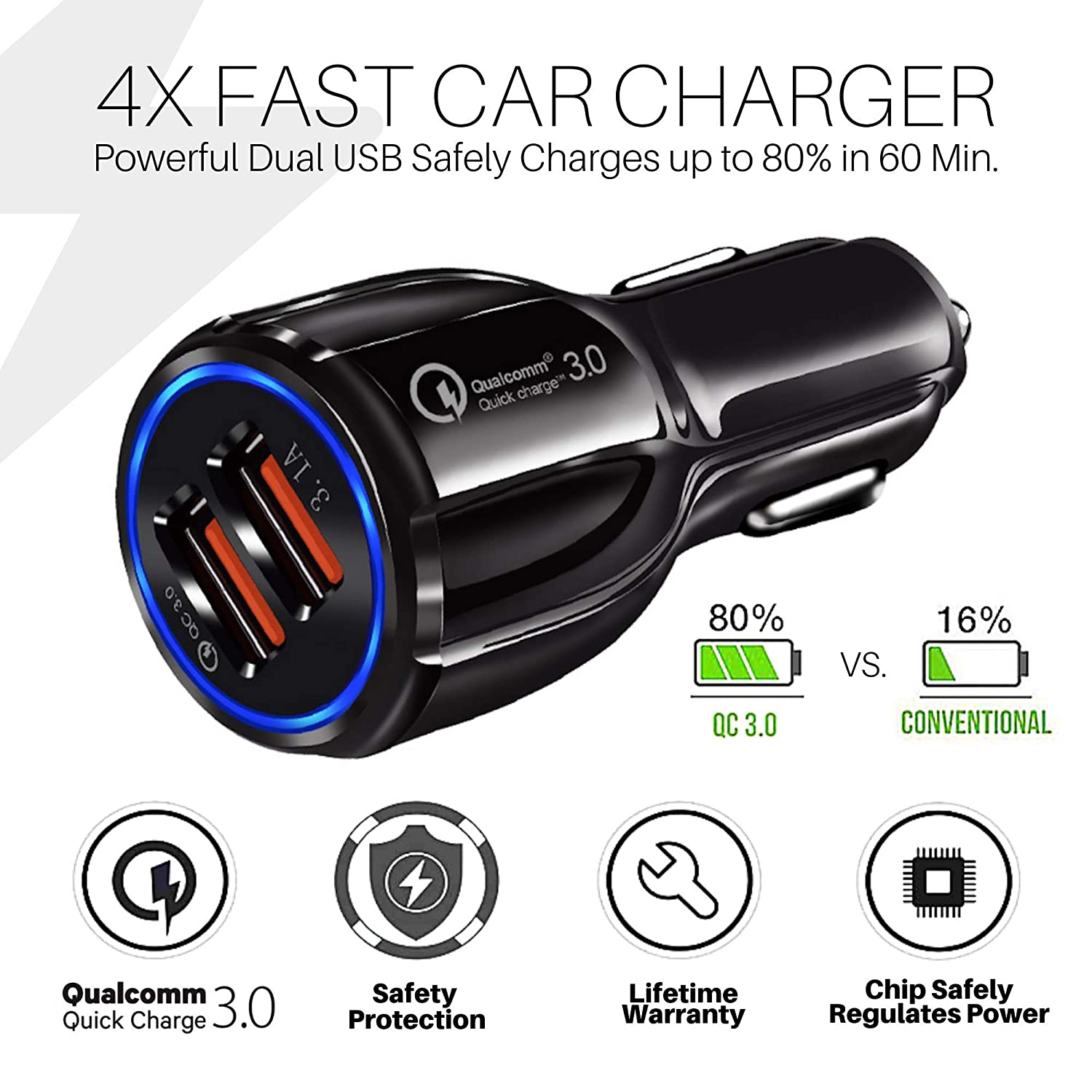 Amazon.com: Dual USB Rideshare Rapid Car Charger with Multi ...