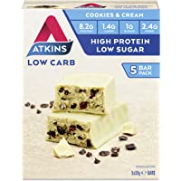 Atkins Cookies and Cream Bars | Keto Friendly Bars | 5 x 30g Low Carb Cream Bars | Low carb, Low Sugar, High Protein, High Fibre | 5 Bar Pack