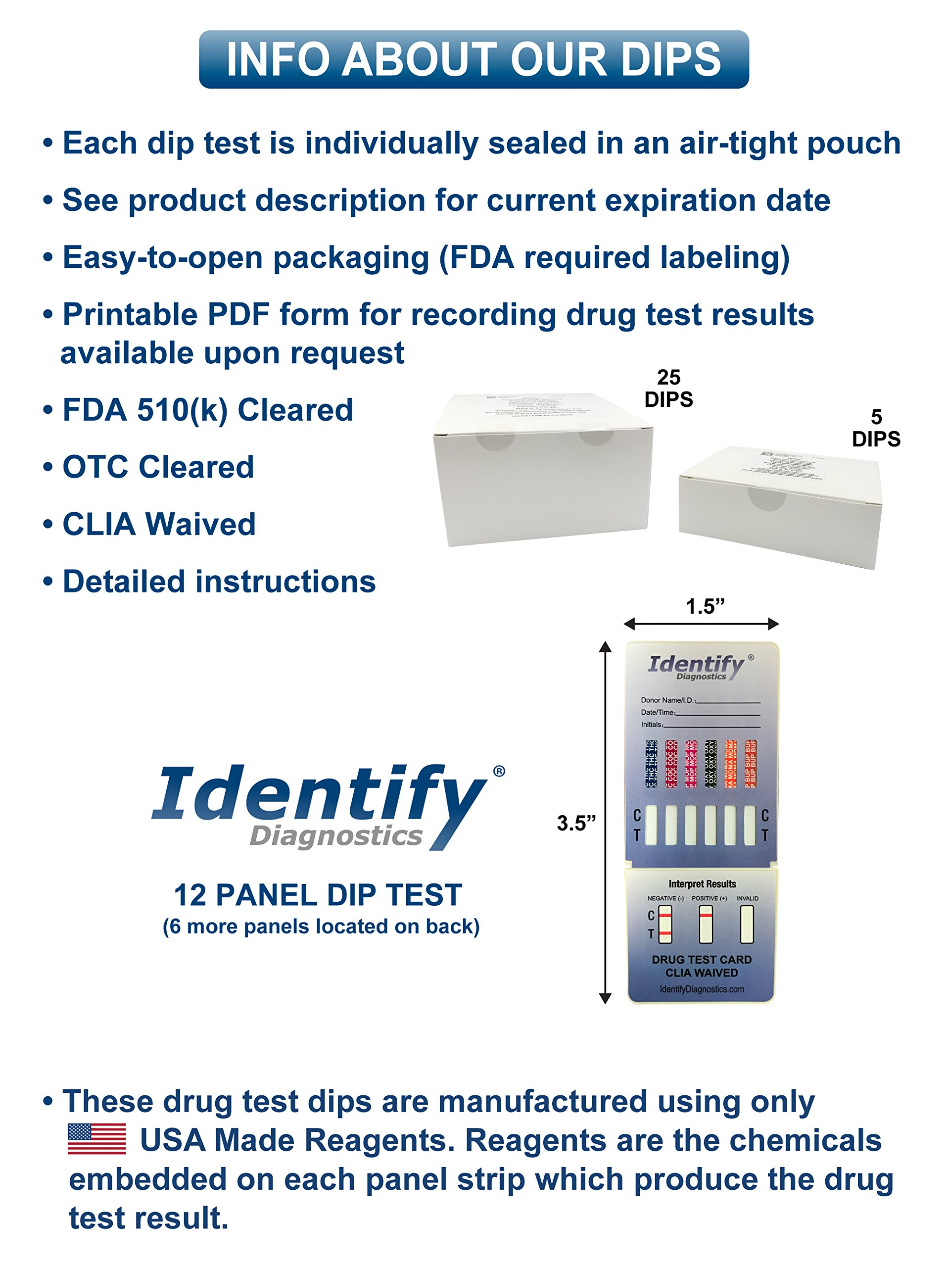 5 Pack Identify Diagnostics 12 Panel Drug Test Dip with Low Opiates Cutoff - Testing Instantly for 12 Drugs: THC, COC, MOP, OXY, MDMA, BUP, AMP, BAR, BZO, MET, MTD, PCP #ID-CP12-DIP by Identify Diagnostics (Image #4)