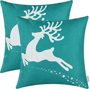CaliTime Pack of 2 Soft Canvas Throw Pillow Covers Cases for Couch Sofa Home Decoration Christmas Holiday Reindeer with Stars Print 18 X 18 Inches Teal