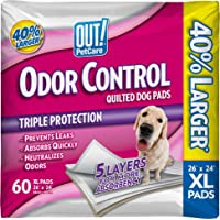 OUT! Odor Control Extra Large Dog Pads | Absorbent Pet Training and Puppy Pads | 60 Pads | 26 x 24 Inches