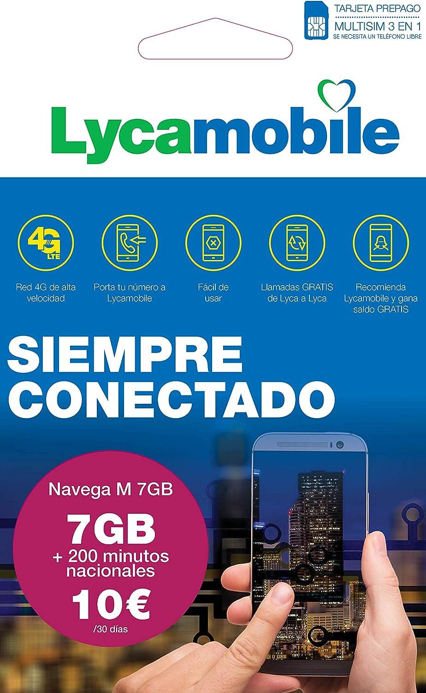 Lycamobile Tarjeta Prepago Multi SIM - Plan Nacional NAVEGA M , Incluye 7 GB de Datos + 200 Minutos en Llamadas , 30 Días: Amazon.es: Electrónica