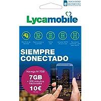 Lycamobile Tarjeta Prepago Multi SIM - Plan Nacional NAVEGA M , Incluye 7 GB de Datos + 200 Minutos en Llamadas , 30…