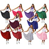 "ILOVEFANCYDRESS® ROCK N ROLL SKIRT FANCY DRESS COSTUME ACCESSORY LONG 26"" LENGTH POLKA DOT 1950'S COLOURED SKIRT + SCARF ROCK AND ROLL SWING OUTFIT (LIGHT PINK WITH WHITE DOTS, 8-12)"