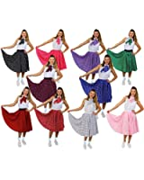 """ILOVEFANCYDRESS® ROCK N ROLL SKIRT FANCY DRESS COSTUME ACCESSORY LONG 26"""" LENGTH POLKA DOT 1950'S COLOURED SKIRT + SCARF ROCK AND ROLL SWING OUTFIT (LIGHT PINK WITH WHITE DOTS, 8-12)"""
