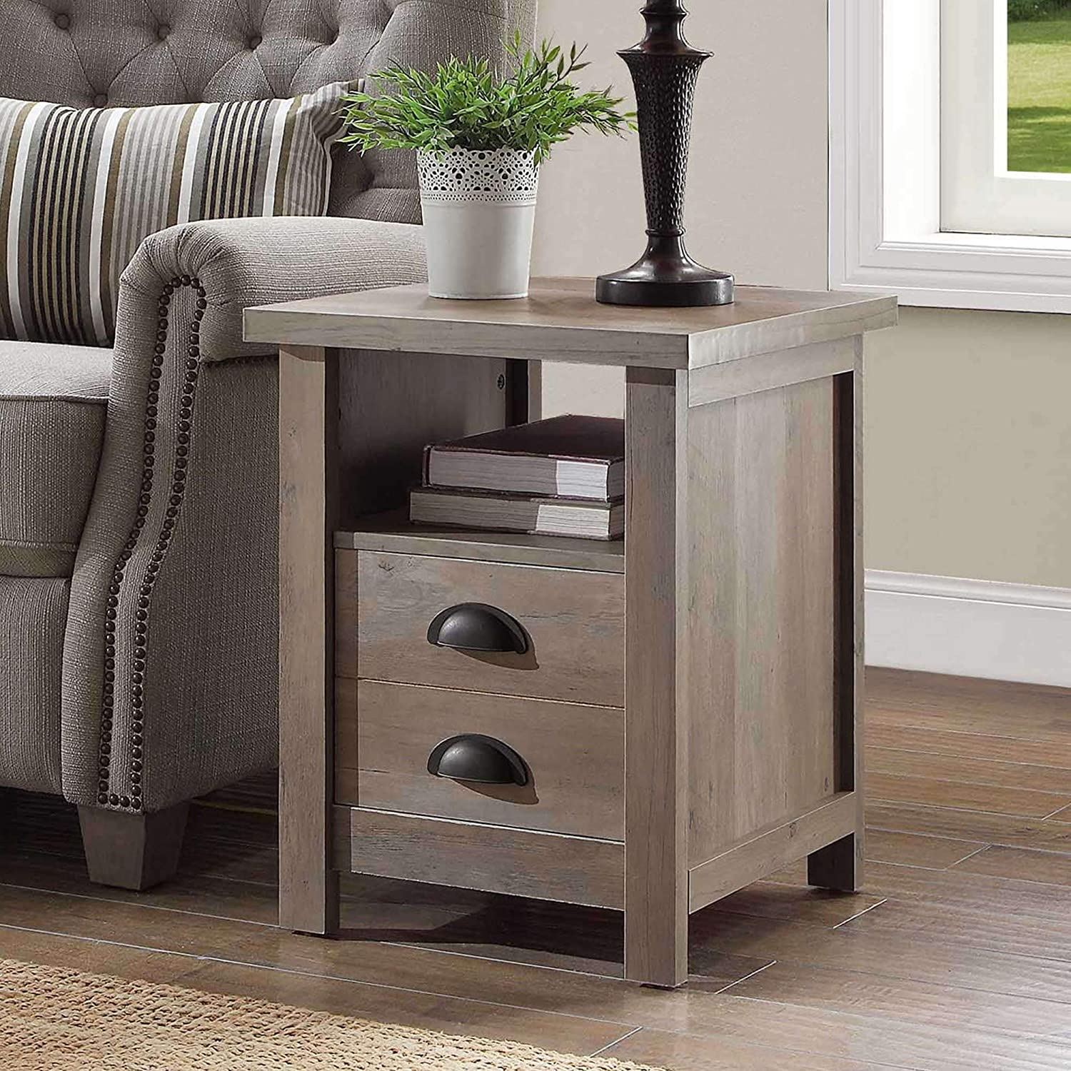 Better Homes and Gardens Granary Modern Farmhouse End Table - Rustic Gray