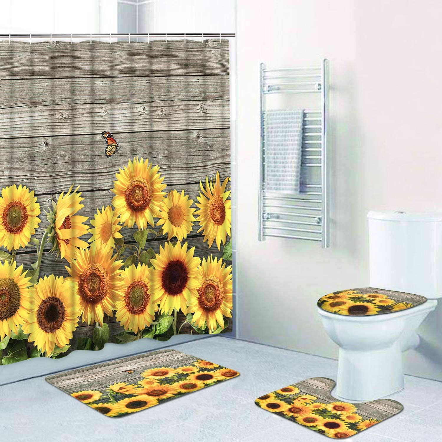 4 Pcs Sunflower Shower Curtain Sets with Non-Slip Rug, Toilet Lid Cover and Bath Mat Wooden Board Shower Curtain with 12 Hooks Waterproof Durable Shower Curtain for Bath Room
