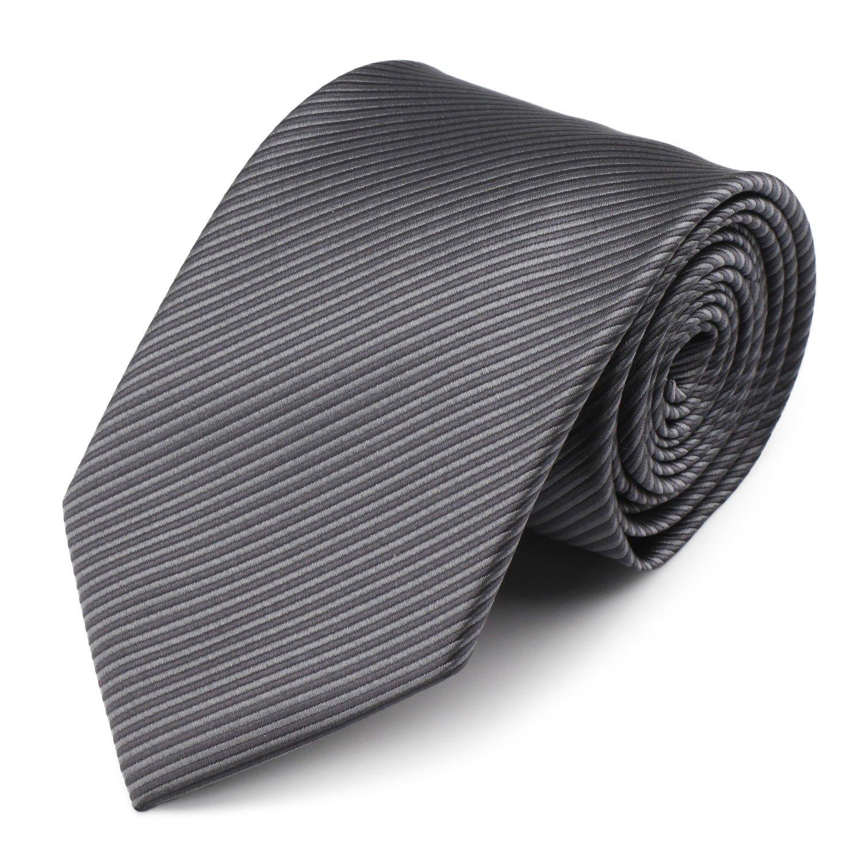 Mens Necktie Classic Striped Neckties, 54'' Long Polyester Solid Grey Neck Tie, Seasonless Formal Casual Business Necktie
