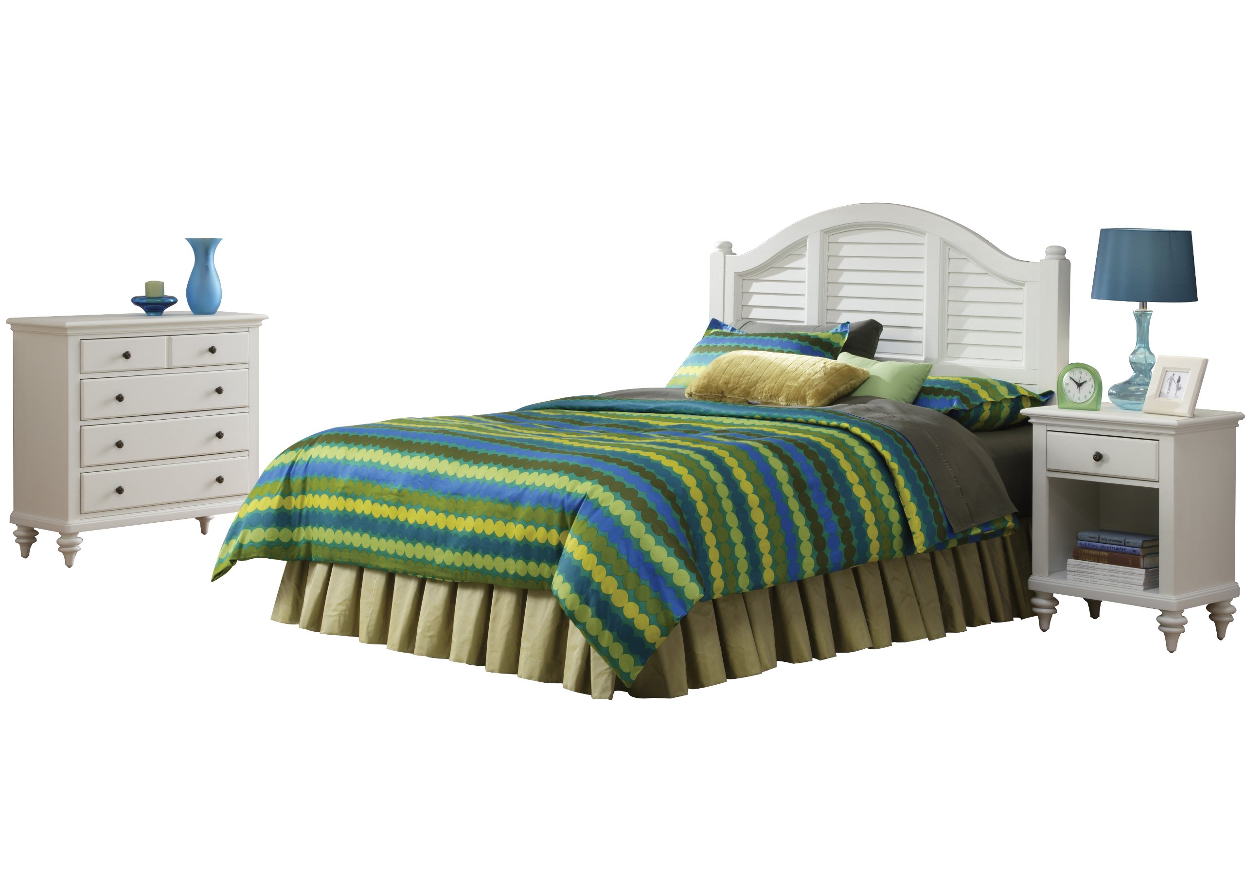 Bermuda White Queen Headboard with Night Stand and Chest by Home Styles
