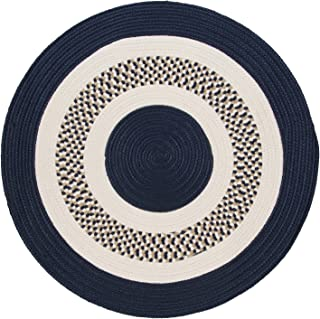product image for Flowers Bay Round Area Rug, 6-Feet, Navy