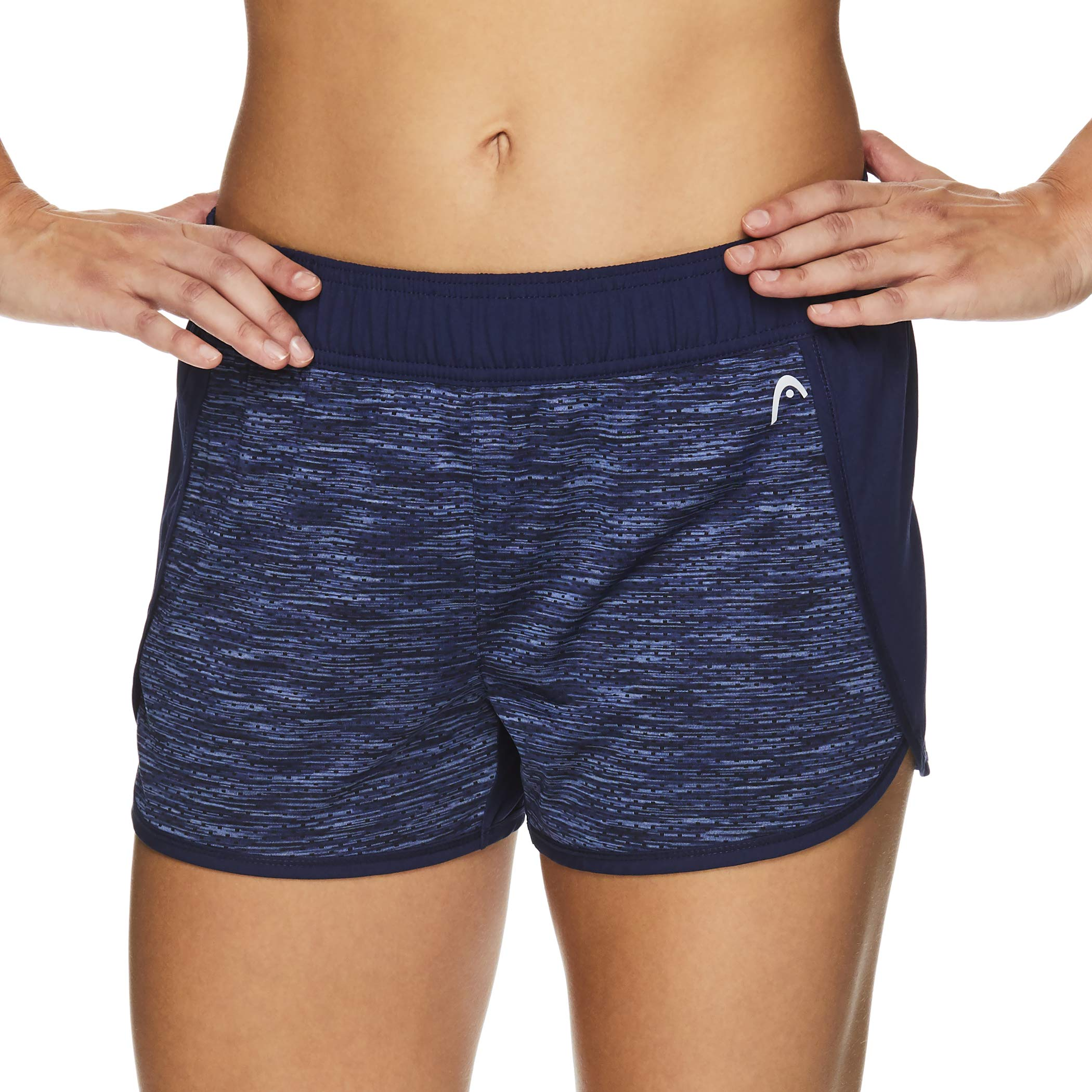 HEAD Women's Athletic Workout Shorts - Polyester Gym Training & Running Short - Inside Track Medieval Blue, X-Small