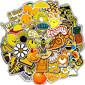Stickers for Water Bottles, 50 Pcs Hydro Flask Sticker Pack, Trendy VSCO Vinyl Aesthetic Stickers for Laptop Hydroflasks Skateboard, Waterproof Cool Cute Sticker for Teens Girls Adult, Yellow