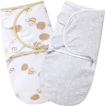 MioRico Manta Envolvente Bebe Recien Nacido Invierno Baby Swaddle Blanket 100% Algodon Organico de 2 Capas Pijama Saco de Dormir 50cm para Bebés ...