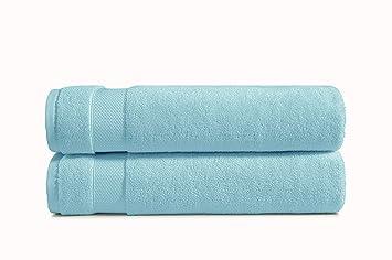 AmazonBasics - Toallas de uso diario, 2 de baño, Azul tranquilo: Amazon.es: Hogar