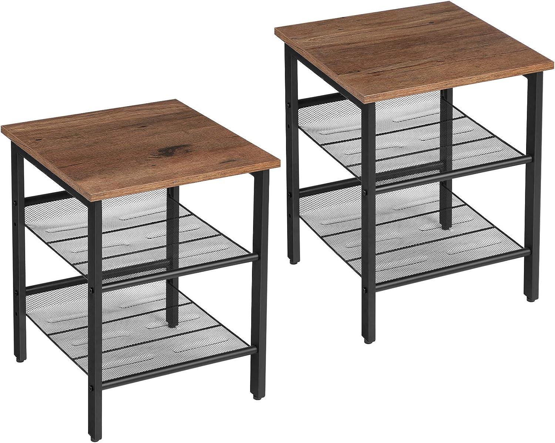 VASAGLE Nightstand, Set of 2 Side Tables, End Tables with Adjustable Mesh Shelves, for Living Room, Bedroom, Industrial, Stable Steel Frame, Easy Assembly, Hazelnut Brown and Black ULET024B03