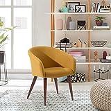 FurnitureR Elegante Silla Decorativa de Tela Sillón Moderno de Tela silenciada con Pata de Metal Amarilla