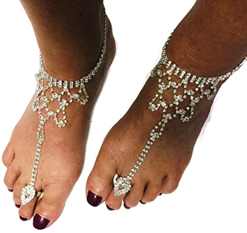 2997fad9c Image Unavailable. Image not available for. Color  1 Pr Barefoot Sandal  Diamond Bling Beach Wedding Bride ...