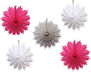 """product image for Devra Party 5-Piece Multi-Colored 19"""" Tissue Paper Snowflake Set (Pink Flurries)"""