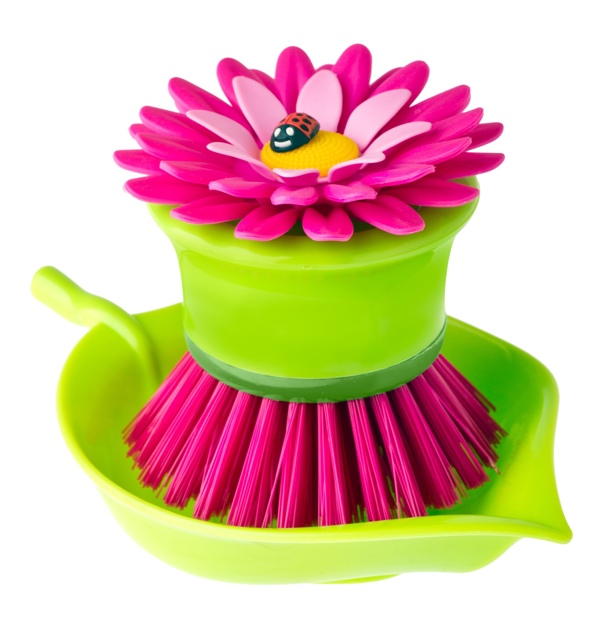 Vigar Flower Power Pink Palm Dish Brush With Holder, 5-3/4-Inches by 3-3/4-Inches, Pink, Green