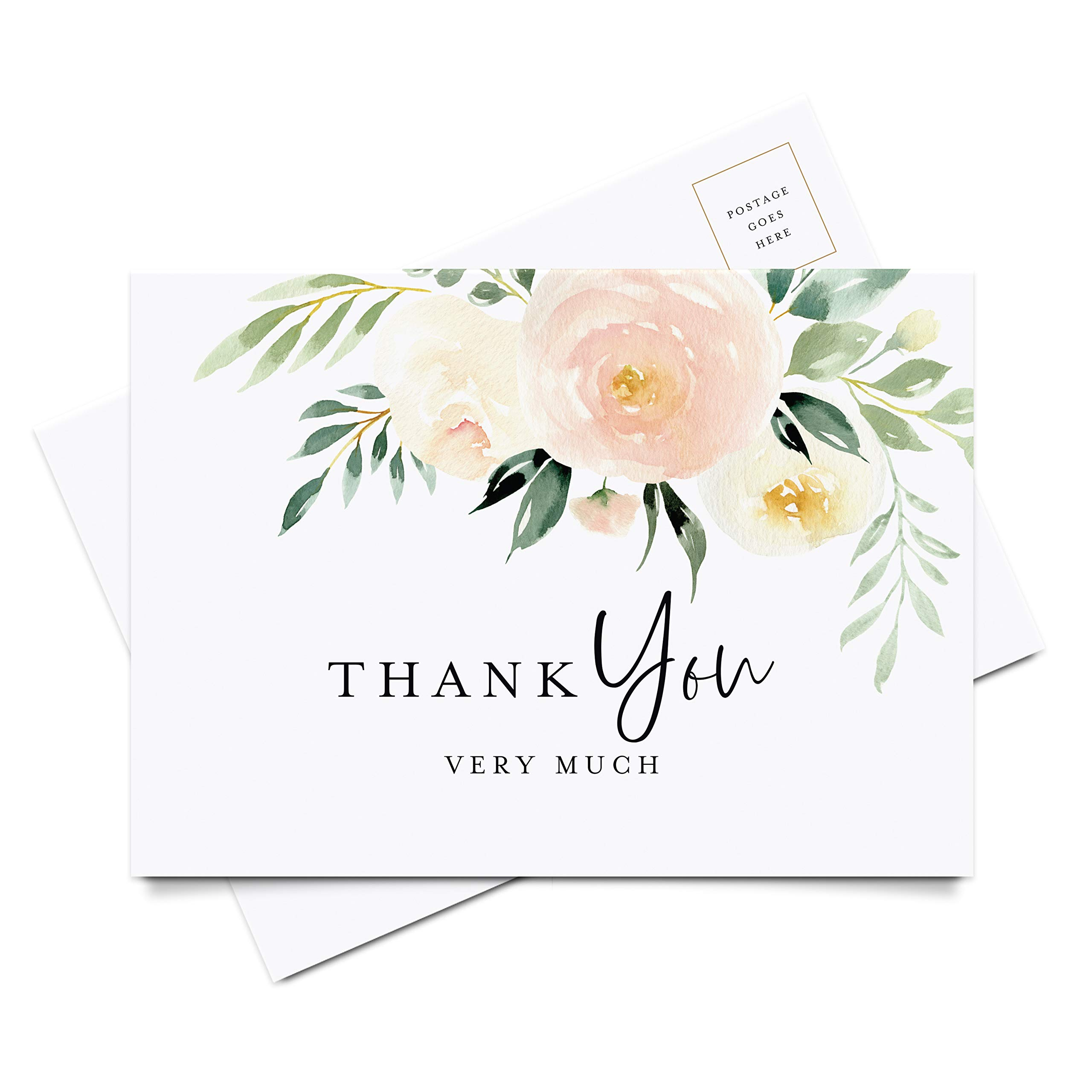 Bliss Collections Thank You Cards, Postcard Style Notes, Blush Floral Design Perfect for: Wedding, Bridal Shower, Baby Shower, Birthday, Funeral or a Great Way Just to Say Thanks, Pack of 50 4x6 Cards by Bliss Collections