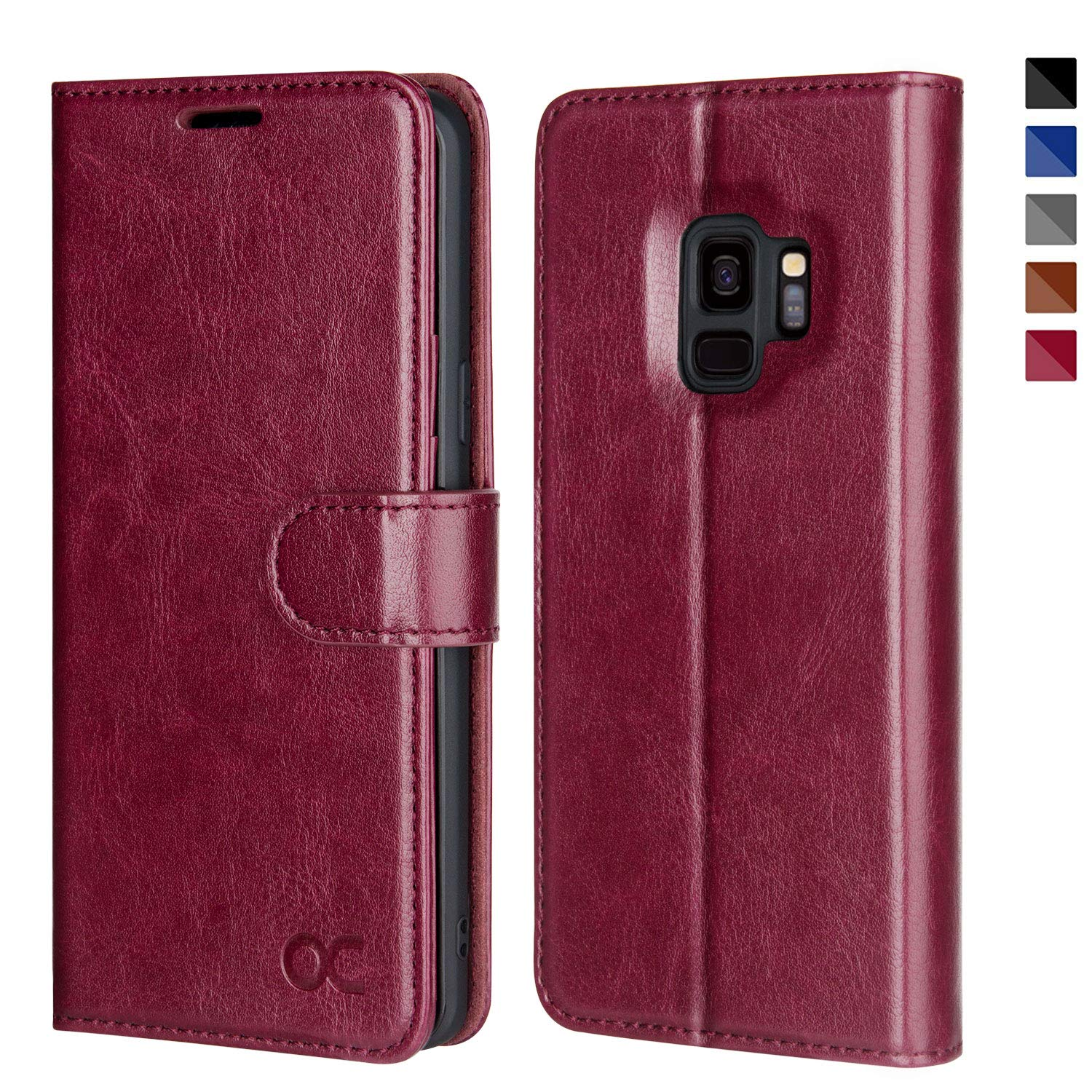 promo code 20048 9eca2 OCASE Samsung Galaxy S9 Case Leather Flip Wallet Case for Samsung Galaxy S9  Devices (Burgundy)