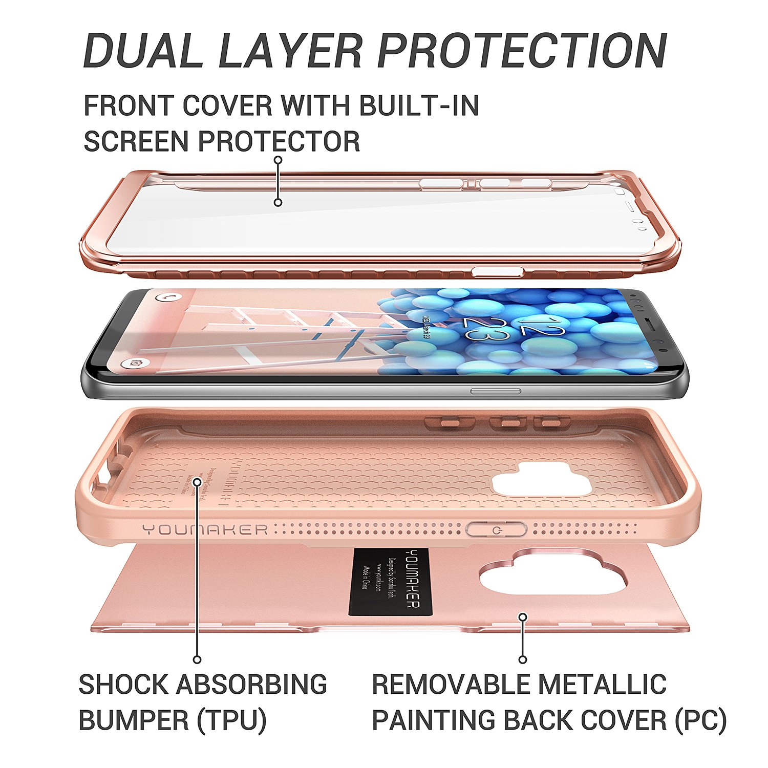 Galaxy S9 Case, YOUMAKER Rose Gold with Built-in Screen Protector Heavy Duty Protection Shockproof Slim Fit Full Body Case Cover for Samsung Galaxy S9 5.8 inch (2018) - Rose Gold/Pink by YOUMAKER (Image #3)