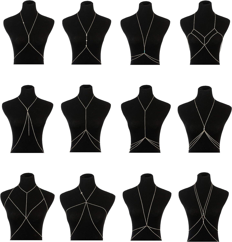 Vegolita 12Pcs Body Chains for Women Beach Bikini Waist Belly Chain Jewelry Necklace Gold Tone
