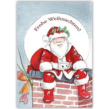 Firmen Weihnachtsgrüße.100er Set Edle Unternehmen Weihnachtskarten Mit Weihnachtsmann Auf