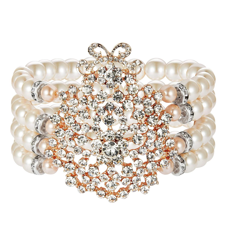 BABEYOND 1920s Flapper Imitation Pearl Bracelet Great Gatsby Elastic Pearl Bracelet Roaring 20s Accessories Jewelry 4 Rows US-pearlbracelet-rosegold