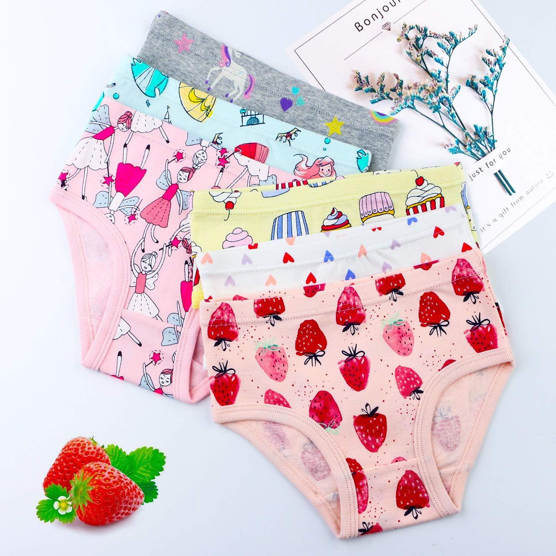 Auranso Baby Girls Knickers Underwear 6 Pack Striped Flower Pattern Toddler Girl Panties Cotton Kids Briefs Underpants 2-7 Years