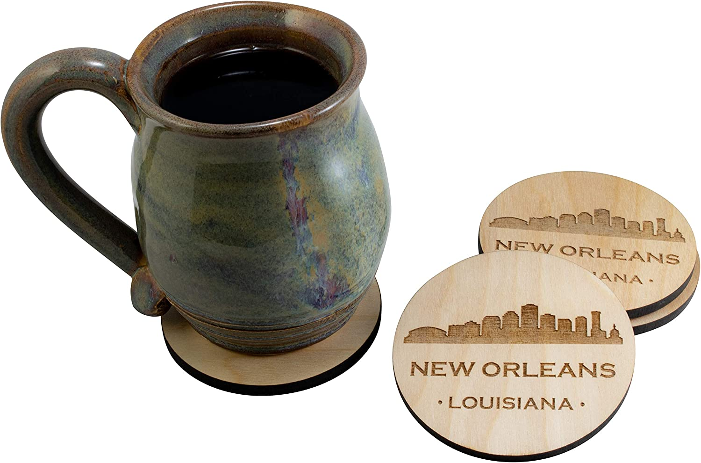 New Orleans Louisiana LA Souvenir 4 Piece Coaster New Home Decor Gift Set, Natural Finish