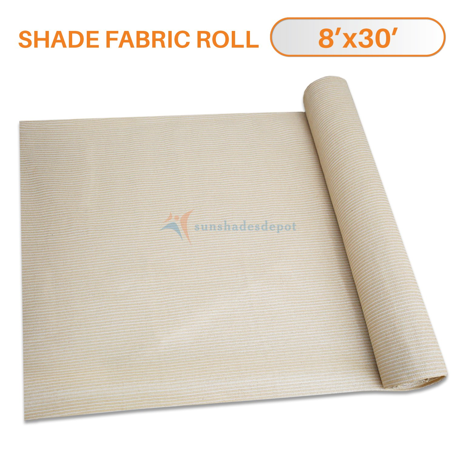 Sunshades Depot 8' x 30' Shade Cloth 180 GSM HDPE Beige Fabric Roll Up to 95% Blockage UV Resistant Mesh Net