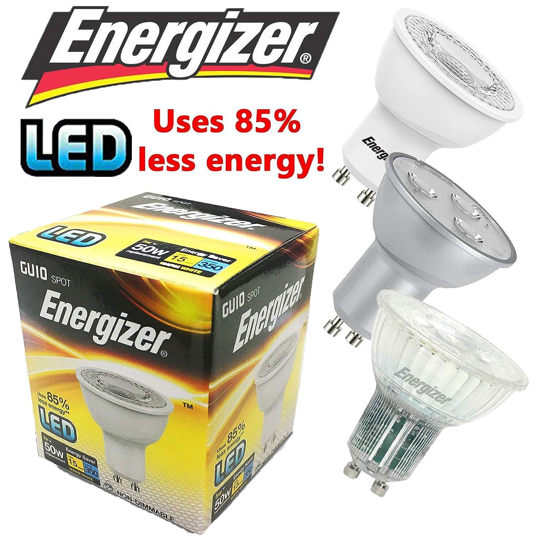 Energizer LED GU10 Light/Lamp Bulb - 3W 5W Energy Saving Cool White/Warm White - Bundles of x2/x4/x6/x10 Available! (5.7W Dim - x4 - Cool White) Energizer Bulbs