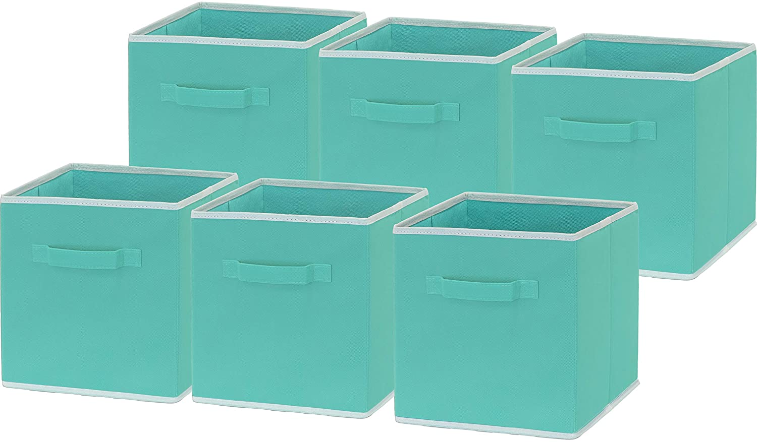 6 Pack - SimpleHouseware Foldable Cloth Storage Cube Basket Bins Organizer, Turquoise (11