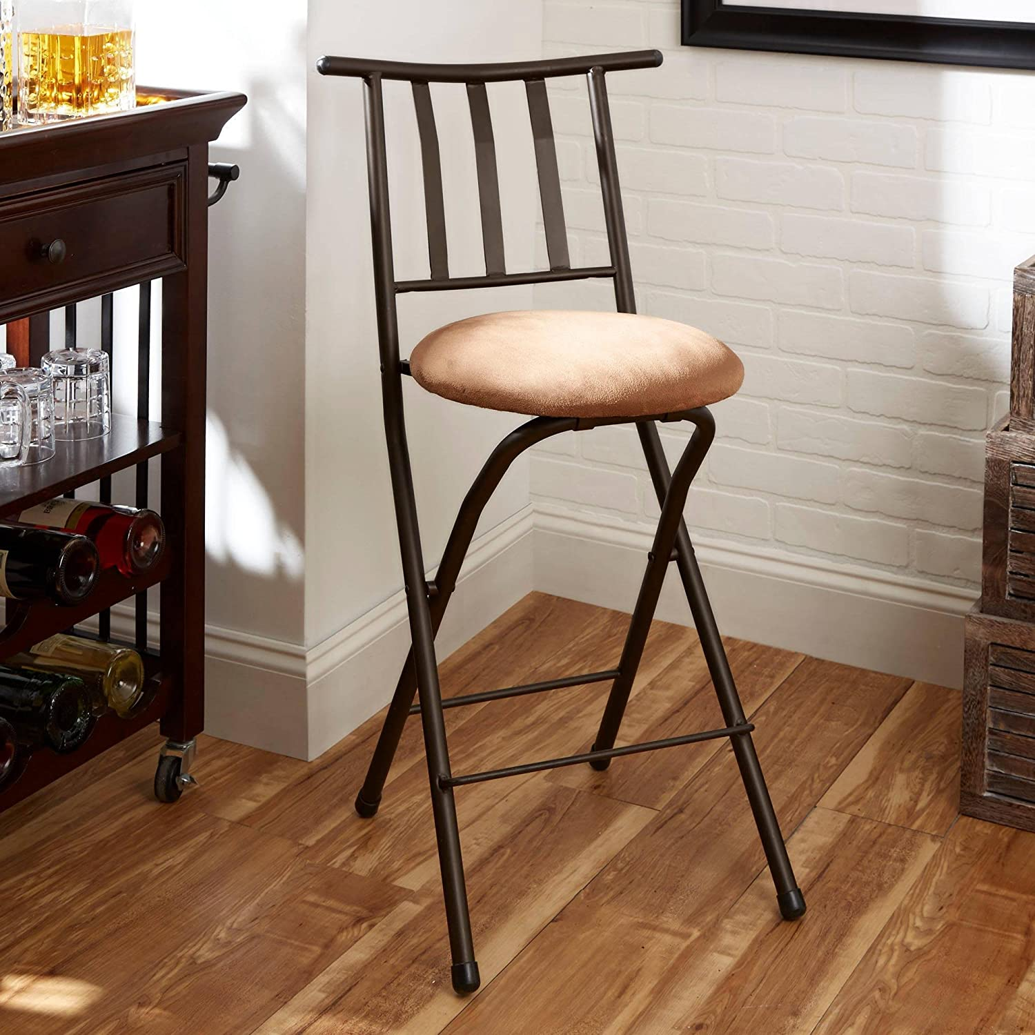 24 Slat-Back Folding, Counter Height Bronze Barstool, Beige
