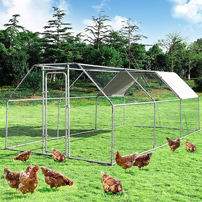 Amazon Com Large Metal Chicken Coop Walk In Chicken Coops Hen Run House Shade Cage With Waterproof And Anti Ultraviolet Cover For Outdoor Backyard Farm Use Poultry Cage 9 5 Lx 19 Wx 6 H Kitchen