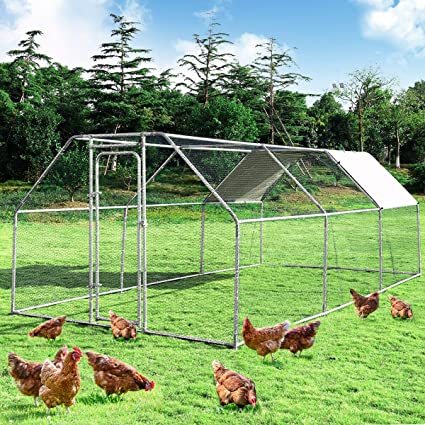 Giantex Large Metal Chicken Coop Walk-in Chicken Coops Hen Run House Shade  Cage with Waterproof and Anti-Ultraviolet Cover for Outdoor Backyard Farm