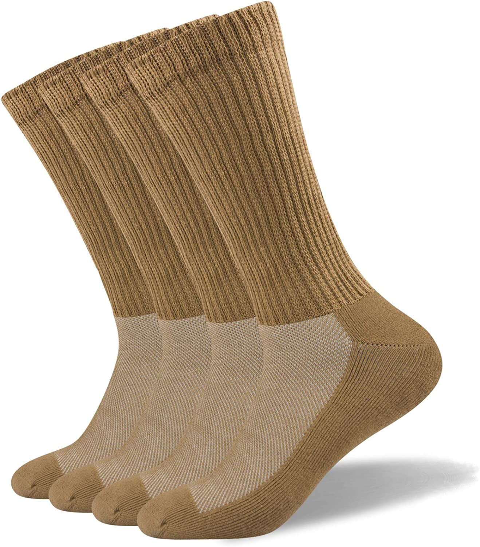 Well Knitting Men's Non-Binding Diabetic Coolmax Medical Circulation Crew Socks Quarter Socks 4 Pairs