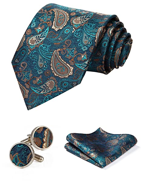 HISDERN Corbata de Paisley de boda para hombre Panuelo con control ...
