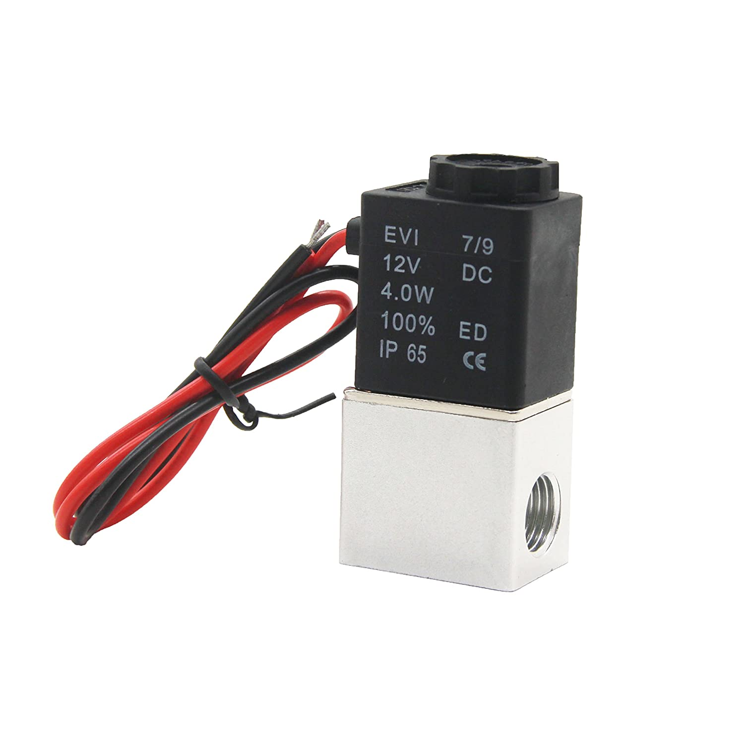Joyway 1//4 12V DC 2 Way Pneumatic Aluminum Electric Solenoid Valve 2V025-08 Normally Closed Fast Response for Air Gas Water N//C
