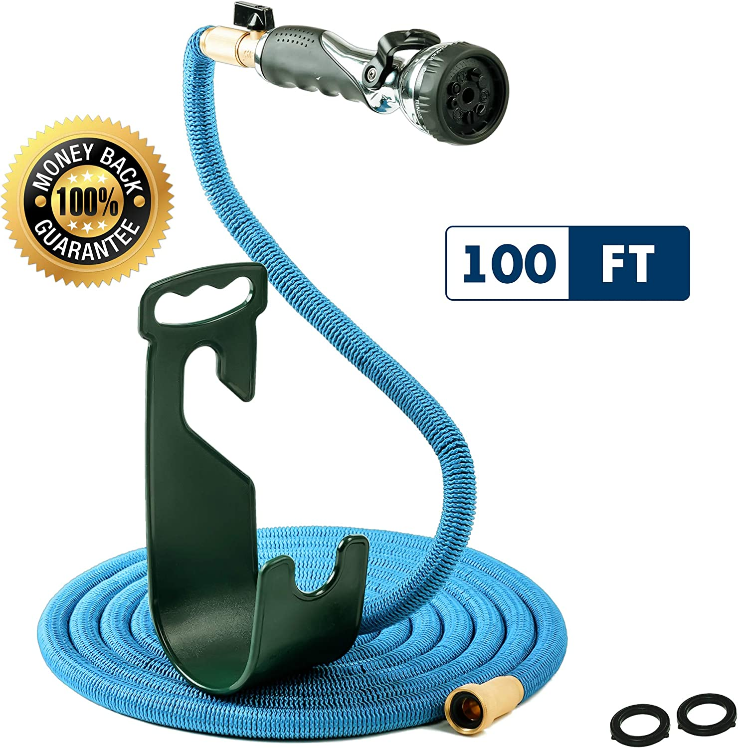 Vela Water Hose - Expandable Garden Hose - Hose Holder - High Pressure Washer Spray Nozzle with 9 Settings - Best As Seen on TV Heavy Duty Kink Free Flex Hose for Car Washing - Watering Hose