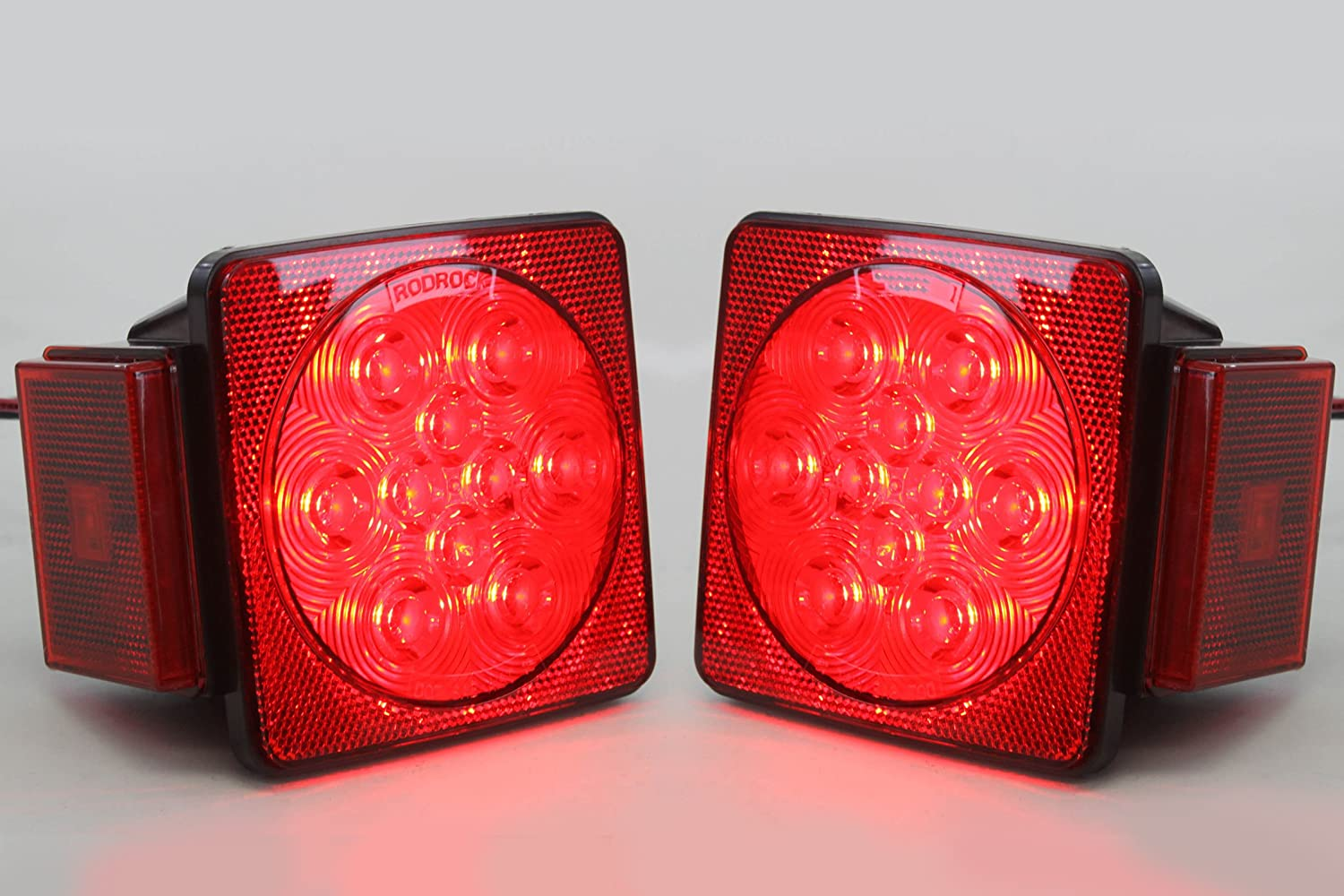 Led Square Red Trailer Turn Signal Stop 2 Light Dot Flat Four Pole Wiring Connection Kit Utility Brake Compliant Set L R Submersible Under 80 Automotive