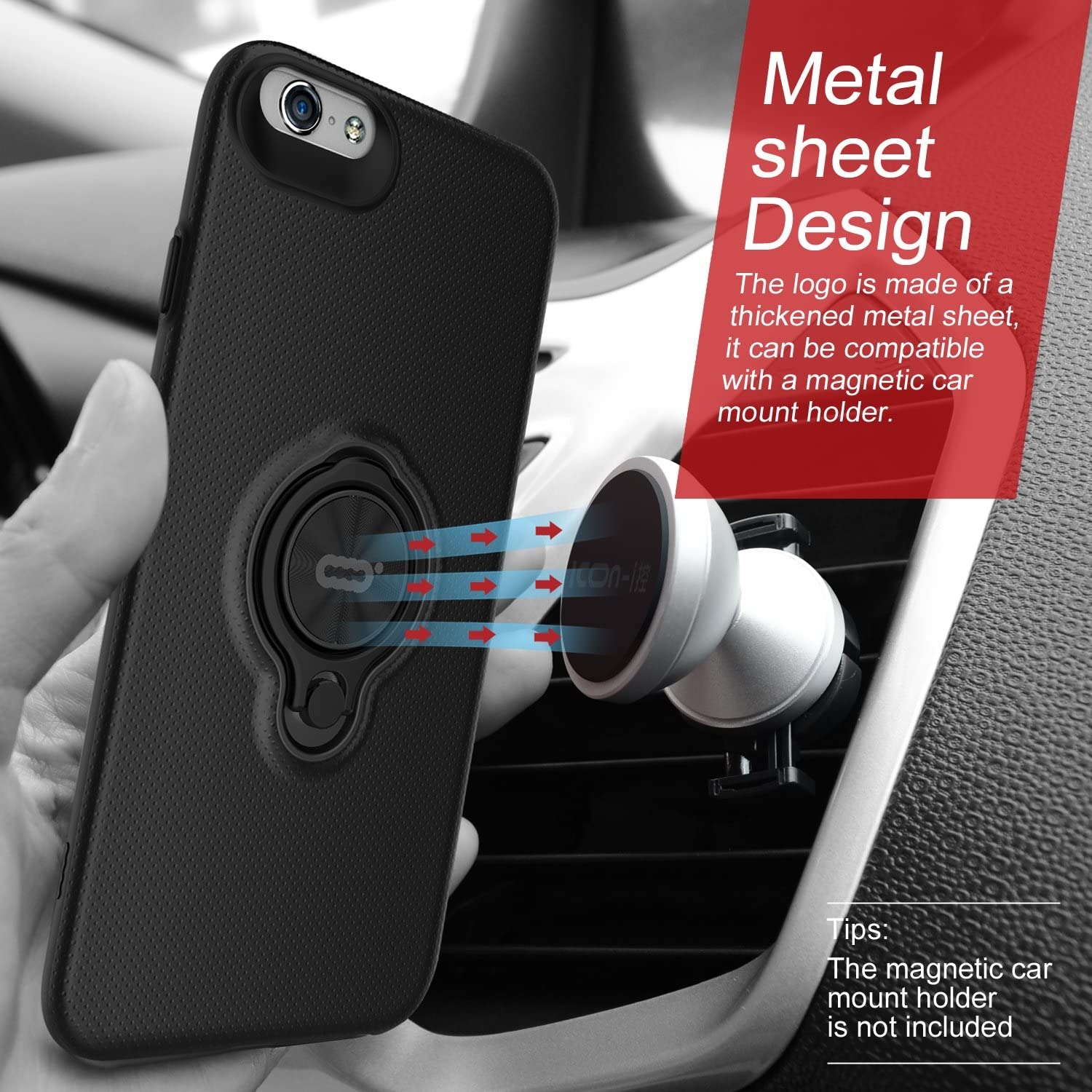 xhorizon TM FLK Rotating Ring Kickstand Holder Magnetic Car Mount Phone Holder Compatible Case for iPhone 6 Plus // iPhone 6S Plus 201608300241C Rose-gold Case for iPhone 6//6S Plus 5.5 Upgraded
