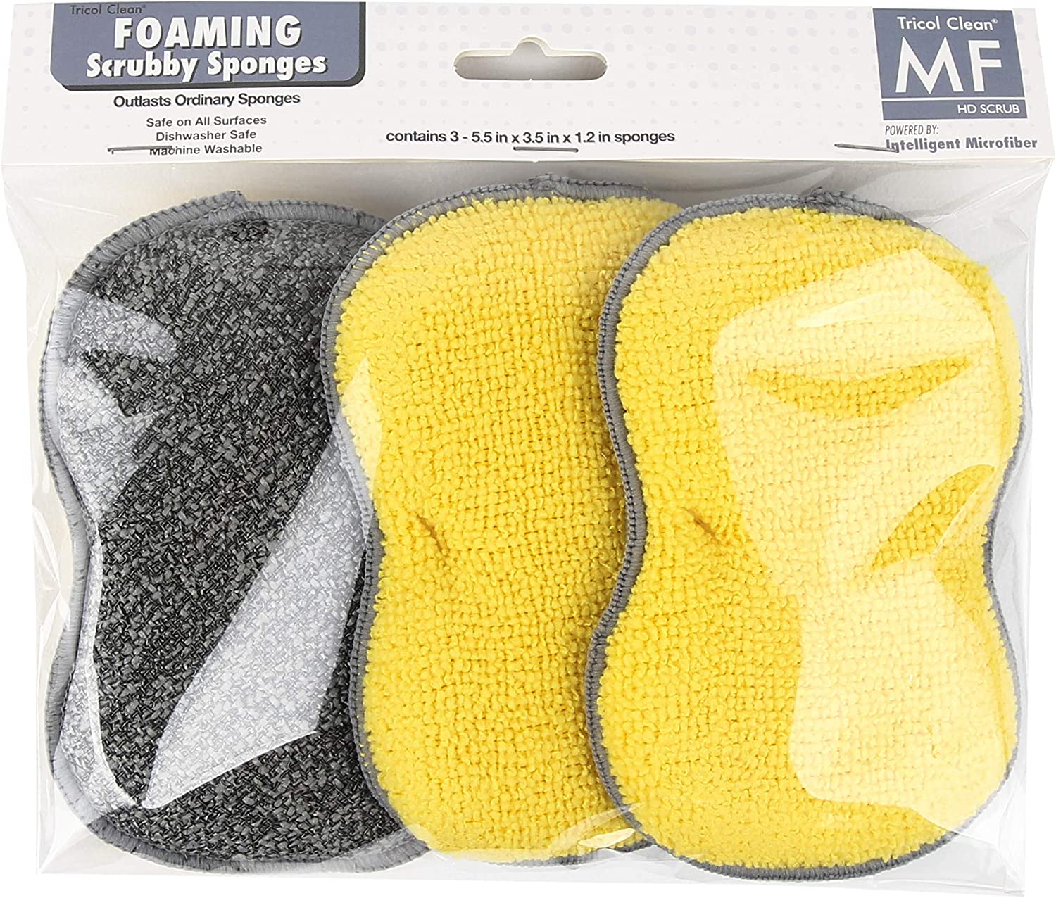 Tricol Clean Microfiber Scrubby, 3 Pack Sponges, 5.5 x 3.5 x 1.2 in, Assorted, 3 Pieces