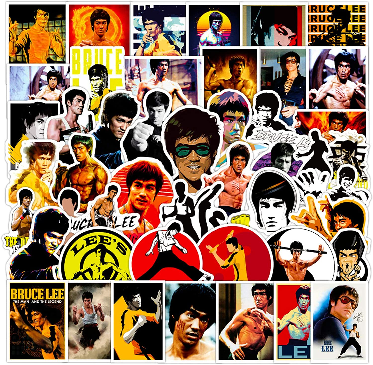 Bruce Lee Laptop Stickers Decals 50pcs Vintage Kungfu Actor Poster Stickers for Computer Water Bottles Bike Motorcycle Skateboard Collection