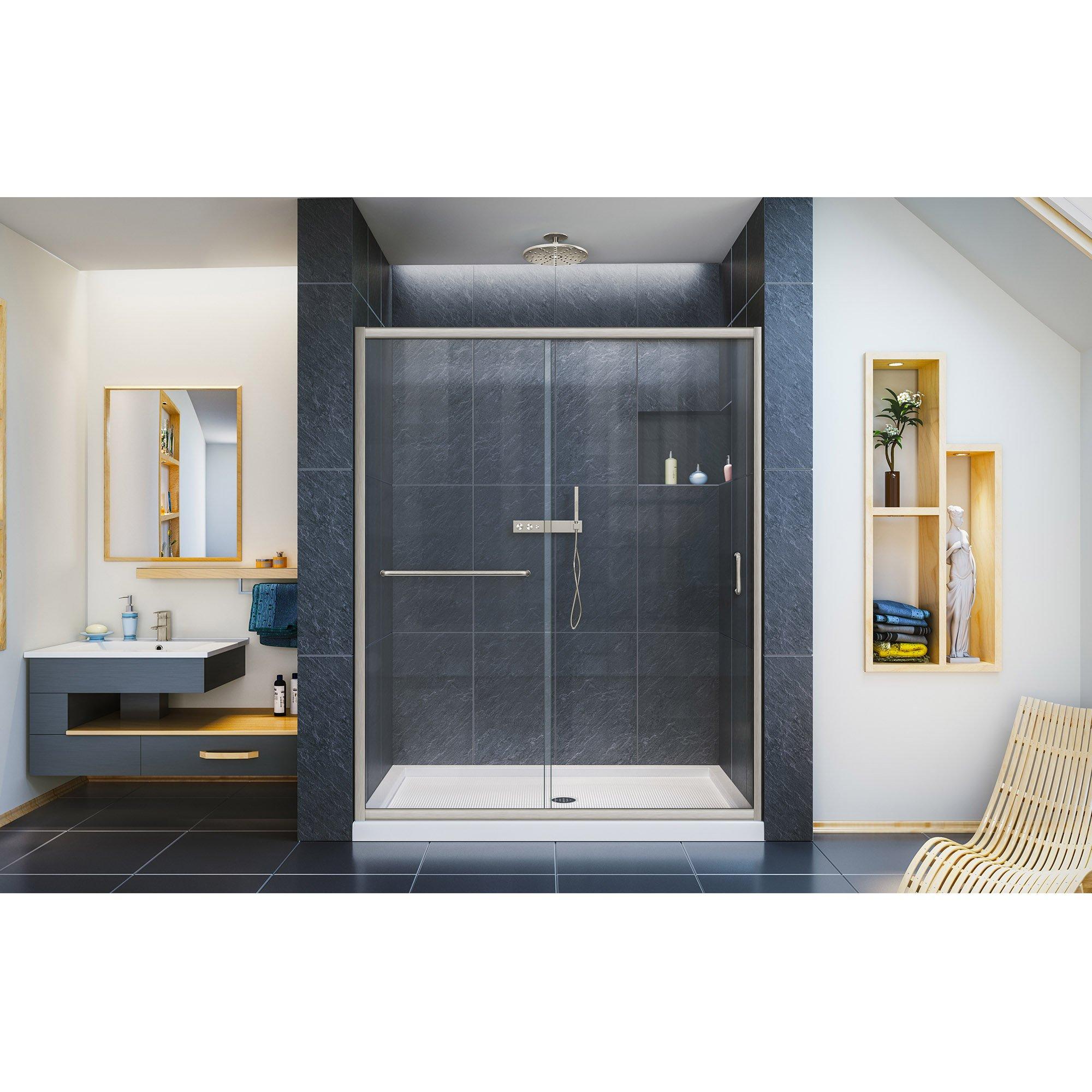 DreamLine Infinity-Z 50-54 in. W x 72 in. H Semi-Frameless Sliding Shower Door, Clear Glass in Brushed Nickel, SHDR-0954720-04 by DreamLine (Image #3)