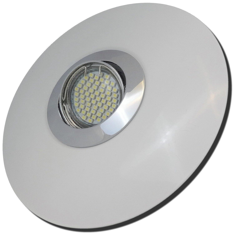 3 Stück SMD LED Einbaustrahler Big Fabian 230 Volt 5 Watt Step Dimmbar Schwenkbar Chrom + Weiß Warmweiß
