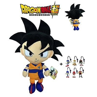 PBP Dragon Ball Super - Peluche Goku, Pelo Negro 30cm Calidad Super Soft + 1 Llavero Aleatorio de Sonic: Juguetes y juegos