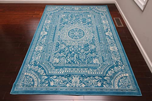 Feraghan New City Transitional French Floral Wool Persian Area Rug, 13 x 16 , Light Blue